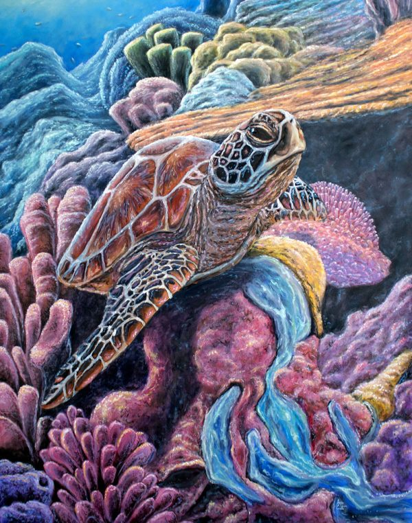 Sea Turtle Swimming with Coral Painting on Canvas